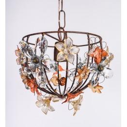 Lampara Media Esfera con flores
