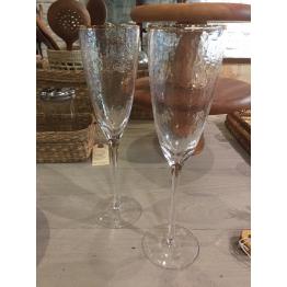 Set x6 Copas de Champagne con Borde Dorado